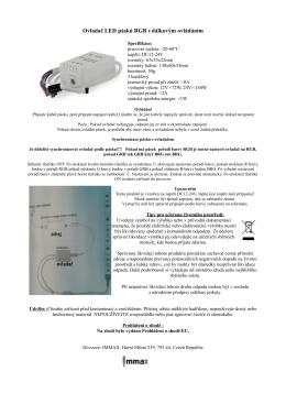 Ovladač LED pásků RGB s dálkovým ovládáním