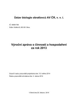 Výroční zpráva 2013 - Ústav biologie obratlovců, vvi