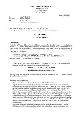 712b 2013 Rozhodnutí ÚR,Tlaková kanalizace Lhota