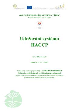Udržování systému HACCP - Okresní hospodářská komora Třebíč