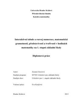 Interaktivní tabule a rozvoj numerace, matematické gramotnosti