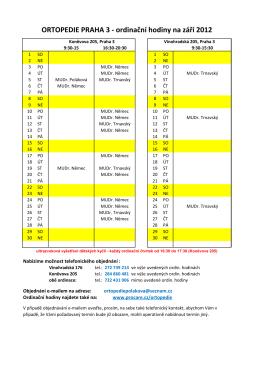 ORTOPEDIE PRAHA 3 - ordinační hodiny na září 2012