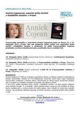 Annick Cojeanová, autorka knihy Kořistí v Kaddáfího harému v Praze!
