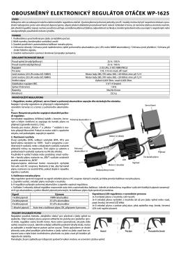 Manuál na elektronický regulátor otáček WP-1625