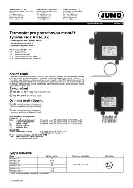 Termostat pro povrchovou montáž Typová řada ATH-EXx
