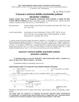 Dražební vyhláška - Kostomlaty nad Labem