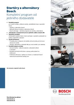 Startéry a alternátory Bosch: Kompletní program od jediného