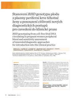 Stanovení RHDgenotypu plodu z plazmy periferní krve těhotné ženy