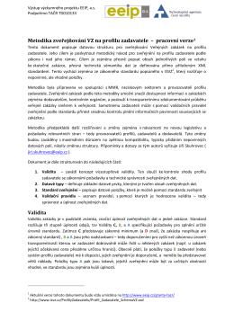 Metodika zveřejňování VZ na profilu zadavatele