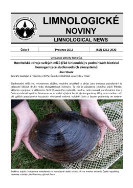Limnologické noviny č. 4/2013 - Česká limnologická společnost