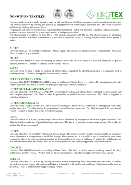 Non-woven textiles - Ekotex spol. s ro