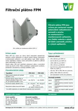 Katalogový list Filtrační plátno FPM