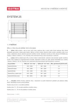 návod na vyměření a montáž žaluzie system 25