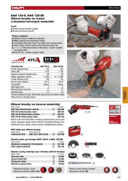 DAG 125-S, DAG 125-SE Úhlové brusky na řezání a