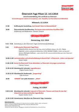Österreich-Tage Pilsen 12.-14.3.2014