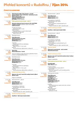 Přehled koncertů v Rudolfinu / říjen 2014
