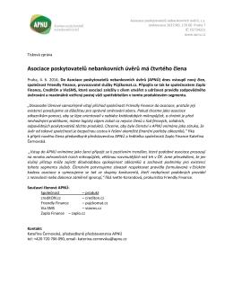 Tisková zpráva ke stažení - Asociace poskytovatelů nebankovních