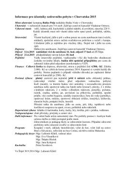 Informace pro účastníky ozdravného pobytu v Chorvatsku
