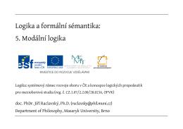Logika a formální sémantika: 5. Modální logika