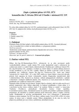 Zápis ze 154. zasedání AS FEL konaného 5. března 2014