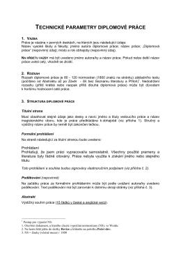 Technické parametry diplomové práce