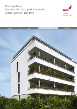 vzorový návrh kompaktního systému větrání Zehnder pro byty