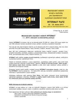 INTERMAT Paříž - Francouzske veletrhy