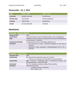 Časový plán – 10. 1. 2014 Medailonky