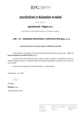 IPB – 12 – PROGRAM BEZPEČNOST, PORTFOLIO RPG Byty, s.r.o.