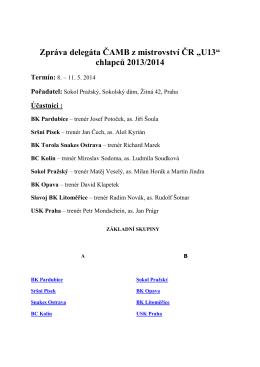 hodnotící zpráva delegáta ČAMB