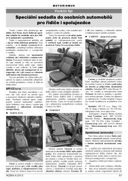 Speciální sedadla do osobních automobilů pro řidiče i spolujezdce