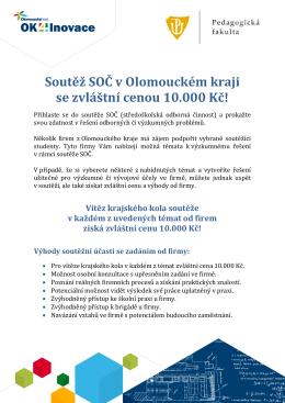Soutěž SOČ v Olomouckém kraji se zvláštní cenou