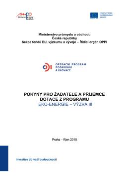 Pokyny pro žadatele a příjemce - Operační program podnikání a