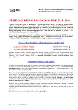 Přijímací řízení - Městské gymnázium a střední odborná škola Úpice
