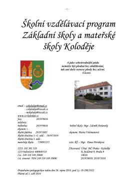 ŠVP ZŠ a MŠ Koloděje 2014+zahrada