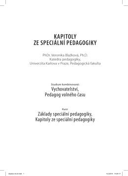 kapitoly ze speciální pedagogiky - Další vzdělávání pedagogických