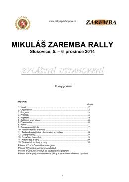 Zvláštní ustanovení (PDF) - Mikuláš Zaremba Rally Slušovice 2014