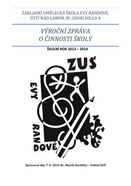 Výroční zpráva 2013/2014 - Základní umělecká škola Evy Randové