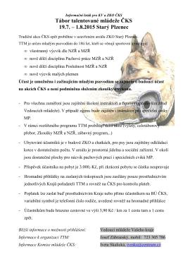 Tábor talentované mládeže ČKS 19.7. – 1.8.2015 Starý Plzenec