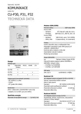 KOMUNIKACE CU-P30, P31, P32 TECHNICKÁ DATA