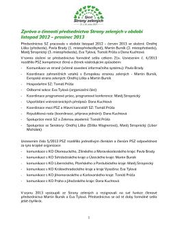 Zpráva o činnosti PSZ - Intranet