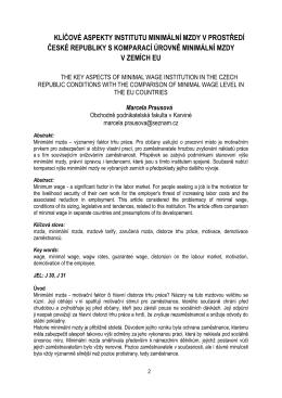 marcela prausová - klíčové aspekty institutu minimální mzdy v
