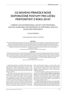 co nového přinášejí nové doporučené postupy pro léčbu peritonitidy