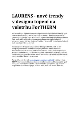 LAURENS - nové trendy v designu topení na veletrhu ForTHERM