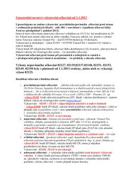 Upozornění na nové vykazování očkování od 1.1.2013 Výkony