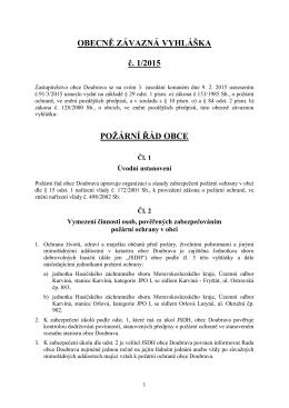 OBECNĚ ZÁVAZNÁ VYHLÁŠKA č. 1/2015 POŽÁRNÍ