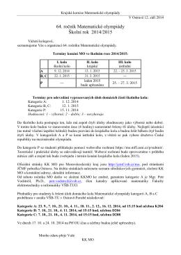 Úvodní leták se základními informacemi k 64. ročníku MO