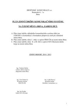 plán zimní údržby komunikačního systému na území města brna