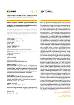Obsah a editorial - Metodické centrum konzervace