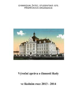 Výroční zpráva za školní rok 2013/2014 ve